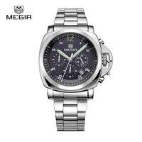 Free Shipping Megir Male Business Quartz Watch Waterproof Sports Wristwatch Large Dial Stainless Steel Strap Men