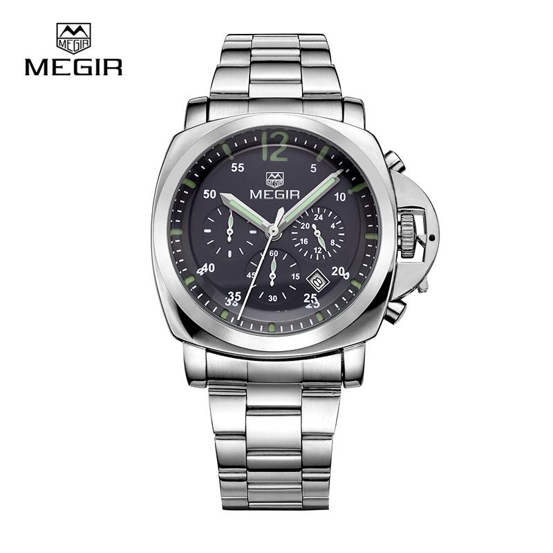 Prix pour Megir 3006 de luxe d'affaires montre à quartz hommes montre-bracelet étanche bracelet en acier inoxydable hommes de mode montres livraison gratuite