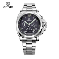 Free Shipping Megir Male Business Quartz Watch Waterproof Sports Wristwatch Large Dial Stainless Steel Strap Men
