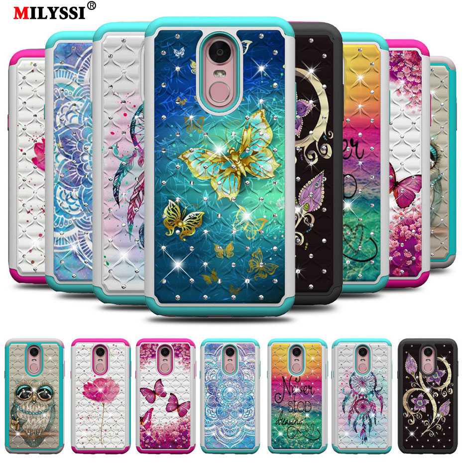 2 in1 Diamond Phone Case for LG Stylo 4 Colorful Flicker