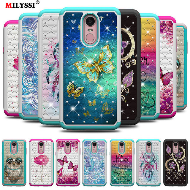 more photos 08d35 323c5 US $2.72 9% OFF|2 in1 Diamond Phone Case for LG Stylo 4 Colorful Flicker  Pattern TPU+PC Phone Cover for LG Stylo 4 6.2 inch Case-in Wallet Cases  from ...