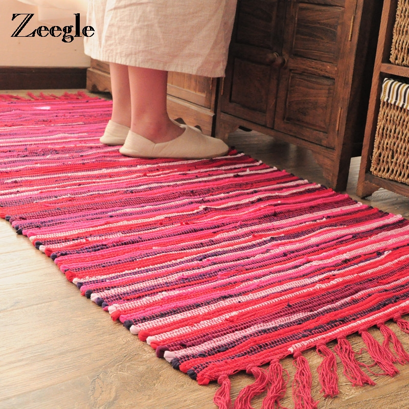 Zeegle Traditional Colored Stripe Cotton Carpet For Living Room ...