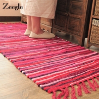 Zeegle Traditional Colored Stripe Cotton Carpet For Living Room Kitchen Absorbent Long Mats Bathroom Anti-Slip Tapete Rug