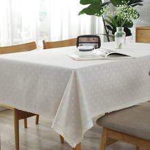 Pastoral Tablecloth Hot Sale Daisy Flower Pattern Rectangular Linen and Cotton Lace Edge Table Cloth Home Hotel Textile Decor