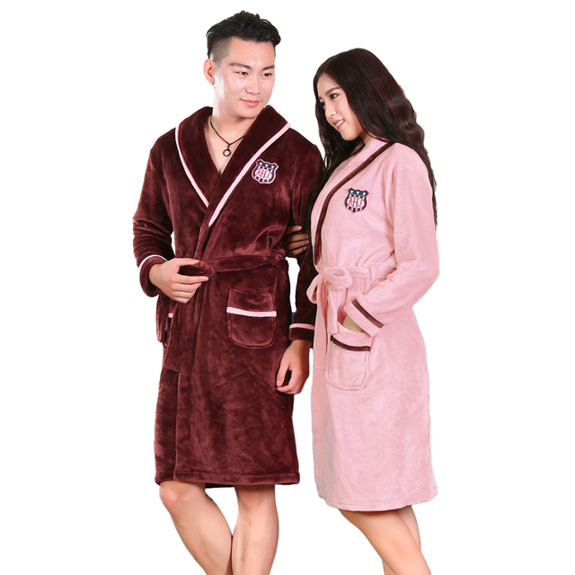Siriusha flannel bathrobe Nightgown couple male ladies coral velvet gown bathrobe clothing Home Furnishing Clubman thickening