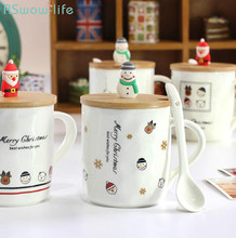 Snowman Wooden Lid Ceramic Cup Christmas Doll Head Creative with Spoon Mug Gift