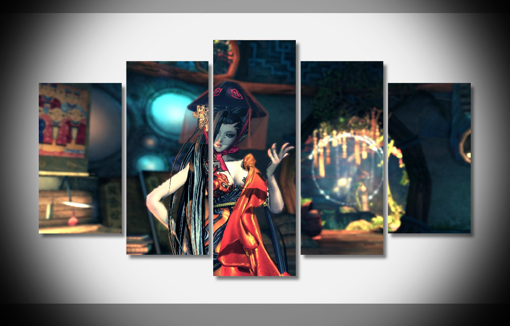 6834 pc gaming blade soul screenshots girl pose red hat-house chair light posterFramed Gallery wrap art print home wall decor