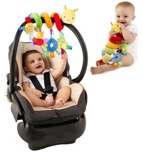 Детские Игрушки детская кроватка вращается вокруг кровати коляску играть игрушка детская кровать токарный висит детские Погремушки Мобильные