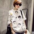 Nova Chegada 2016 Moda Verão Coreano T-Shirt Das Mulheres Soltas de Manga Curta de Algodão Dos Desenhos Animados Emoji Camiseta Feminino Plus Size T-Shirt