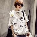 Nueva Llegada 2016 de Moda de Verano de Corea de la Historieta de La Camiseta de Las Mujeres Suelta de Manga Corta de Algodón Emoji Camiseta Femenina Más la Camiseta del Tamaño