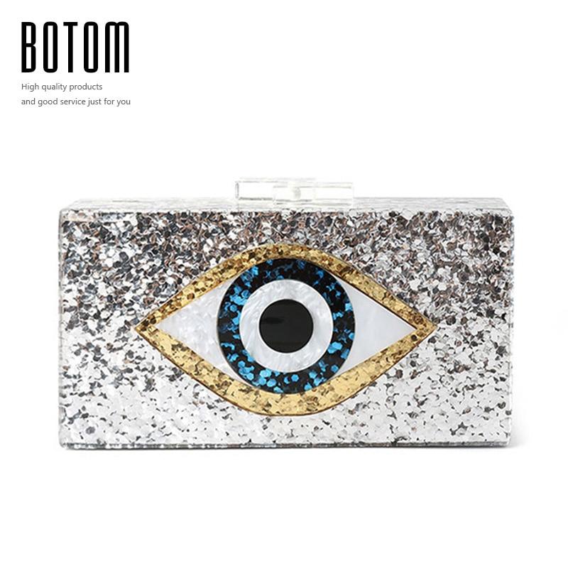 Botom eye bling de calidad superior de acrílico de lujo bolso de los bolsos de t