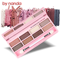 BY NANDA Professional diamond shine 8 color Waterproof eye shadow eye Makeup set Cosmetic Facial Concealer Palettes Neutral