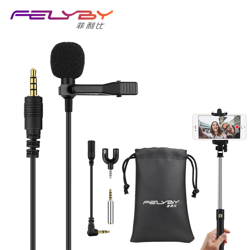 High quality Mini Condenser Lapel Microphone 3.5mm Tie Lapel Lavalier Clip On Double Microphone for Lectures Teaching Interview