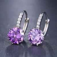 Cadeau femme brillant Micro-incrusté boucles d'oreilles pour femmes 10 couleurs exquise fête AAA élément Clip boucles d'oreilles pour accessoires pour femmes