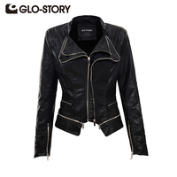 GLO STORY 2017 Women S Slim PU Leather Jackter Black Chic Cool Rivets Zippers Motorcycle Tuxedo