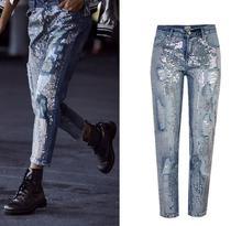 European&American sequins ripped Jeans Fashion women straight-leg ninth denim pants applique straight leg ripped pants