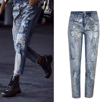 European&American sequins ripped Jeans Fashion women straight-leg ninth denim pants