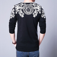 Fashion Fllower Print Men S Pullover Sweaters Casual Wear V Neck Long Sleeve Mens Sweaters For