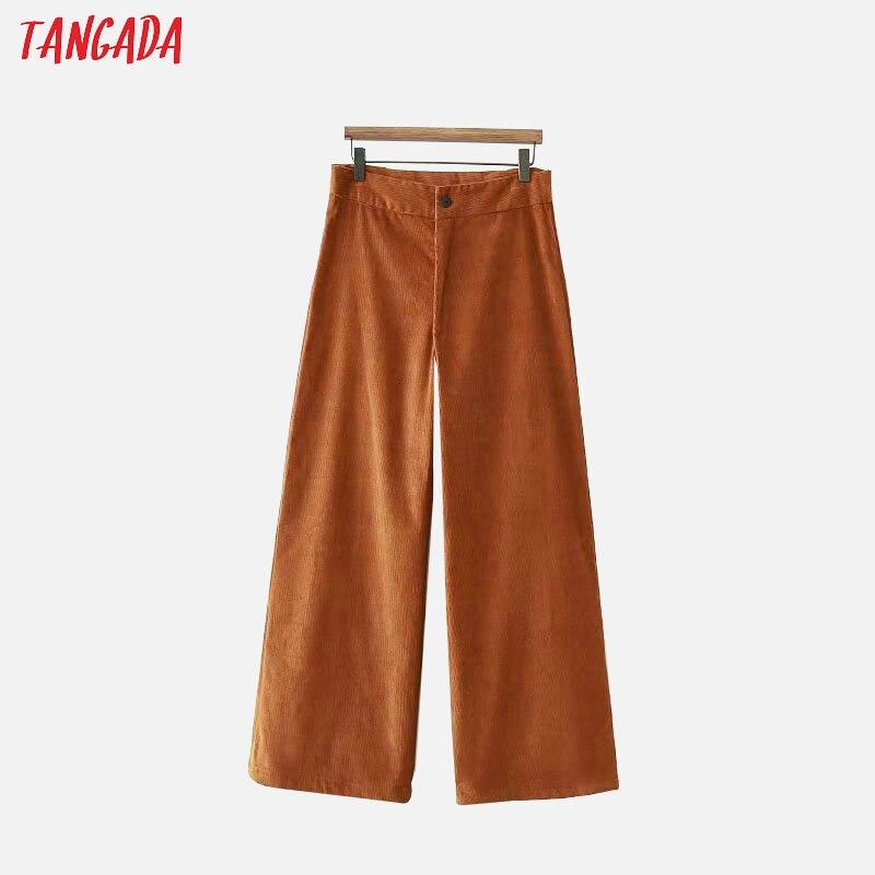 Tangada Women Vintage Brown Corduroy Trousers   Pants   Zipper Pocket   Pants   Casual Fashion Female   Wide     Leg     Pants   XD147