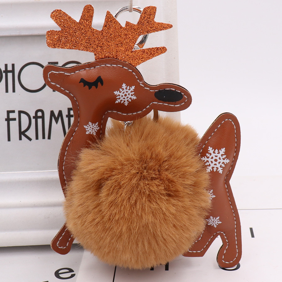New Plush Kawaii Christmas deer Fur Ball keychain Soft Toys Cute Kids Plush Dolls pompom fluffy Charm Baby For Girls Women gift