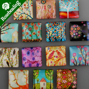 25mm Square Pattern Glass Cabochon,mixed Plants Pictures,flat Back,thickness 6.5mm,sold 20pcs/lot-C4539 Diy Cabochon Base