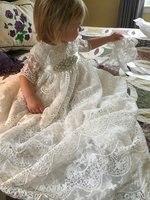 Винтаж кружева для маленьких девочек крестильное платье с бисером пояс кушак для маленьких девочек платье на день рождения наряд для креще