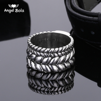 10Pcs/Lot Fashion Tire Pattern Men's Buddha Chain Link Finger Ring Ancient Silver Jewelry To Women Gift Free Shipping