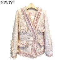 NIWIY Brand Luxury Woven Tweed Winter Jacket Casacas Para Mujer Invierno 2019 Long Sleeve Pink Women Jacket Casaco N9328