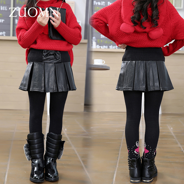 Girls Skirt Black 2016 New Autumn England Style Girls Skirt Chilldren PU Leather Skirts for Kids Clothes High Quality GH305