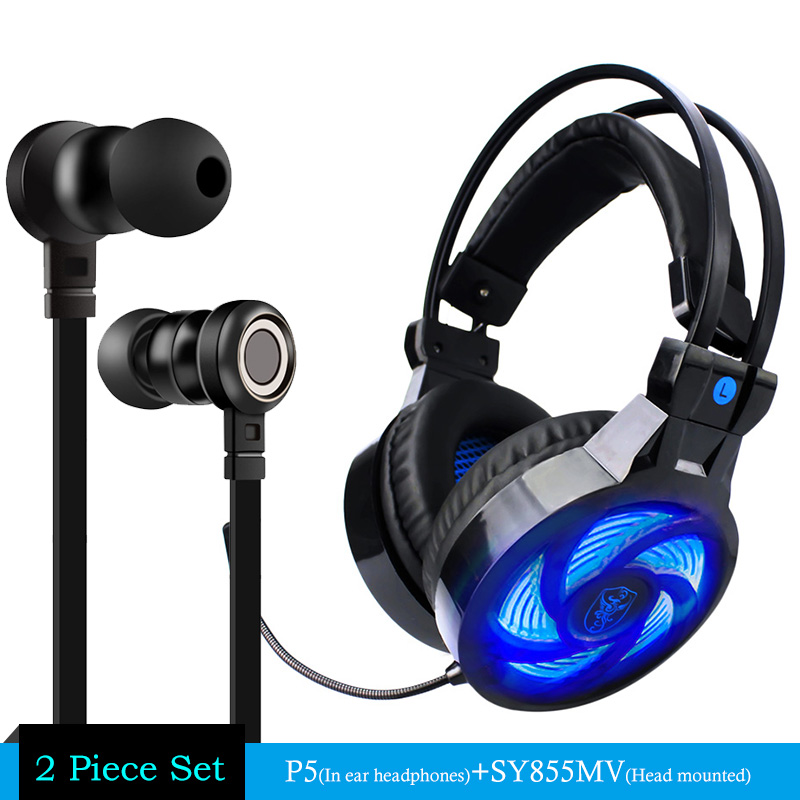 Soyto Z-Sy855 Wired Gaming Headset Deep Bass Game Earphone Computer headphones with microphone led light + P5 Earphone Bass Gift kz headset storage box suitable for original headphones as gift to the customer