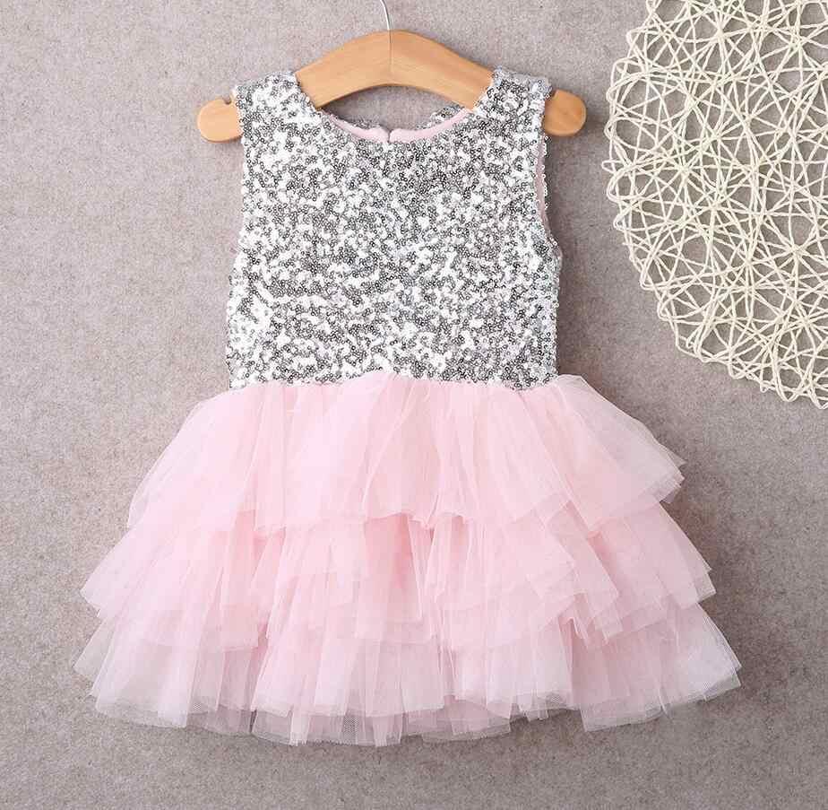 4c4f00b9f Niños bebé niña vestido 2018 verano Disfraces para Niñas lentejuelas pastel  tutú vestido fiesta arco vestidos espalda descubierta