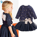 New Baby Girls clothes suit T shirt + skirt 2pcs / set children's back bow pentagram star princess fashion party clothing suit