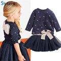 Novas roupas dos Bebés T shirt do terno + saia 2 pcs/conjunto das crianças de volta arco pentagrama estrela princesa partido moda roupas terno