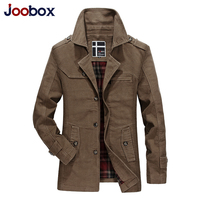 JOOBOX Newest 100%Cotton Men's windbreaker long coats Top quality Turn down Collar comfortable jackets fashion design outerwear