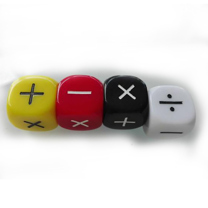 4Pcs/set Addition/Subtraction/Multiplication/Division Symbol Dice Operation Baby Teaching Assistant Props 16mm Dices