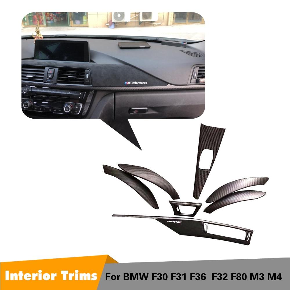 Dashaboard revêtement d'habillage Pour BMW F30 F32 F36 320i 328d 328i 420i 428i 435i 440i 3 4 Série de Fiber de Carbone Sec Intérieur Tableau De Bord 7 pièces