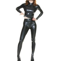 Handmade 2019 Latex 100% Rubber Uniform Tops and Pants Suit Long Sleeve Black Wetlook Color Unisex Customized Size XXS XXL