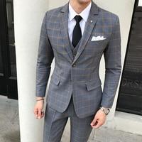 (Топы + брюки + жилеты) Новые клетчатые повседневные мужские костюмы в британском деловом стиле, одежда для профессионалов, костюмы из трех п