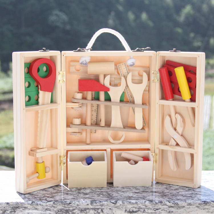 Tools Baby Toys Woodworking Tool Set Wooden Toys For Children Nuts And Bolts Wooden Box Garden