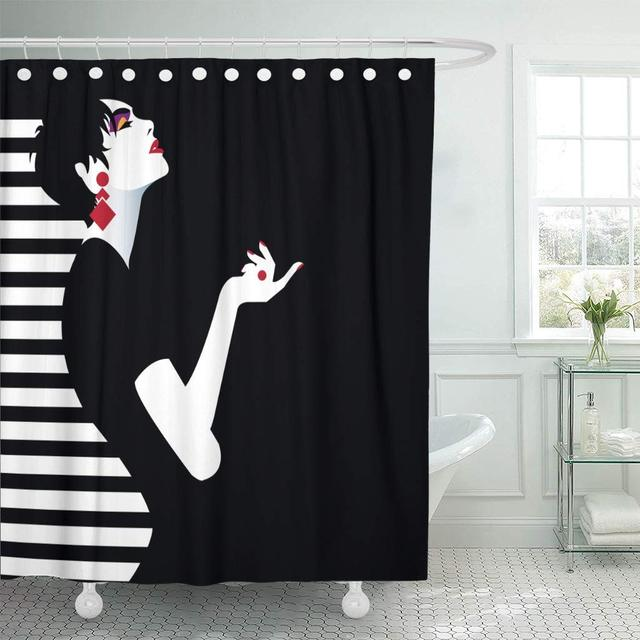 Fabric Shower Curtain with Hooks Strange Teenage Girl Model Vintage Adult Graphic Lady Modern Sexy