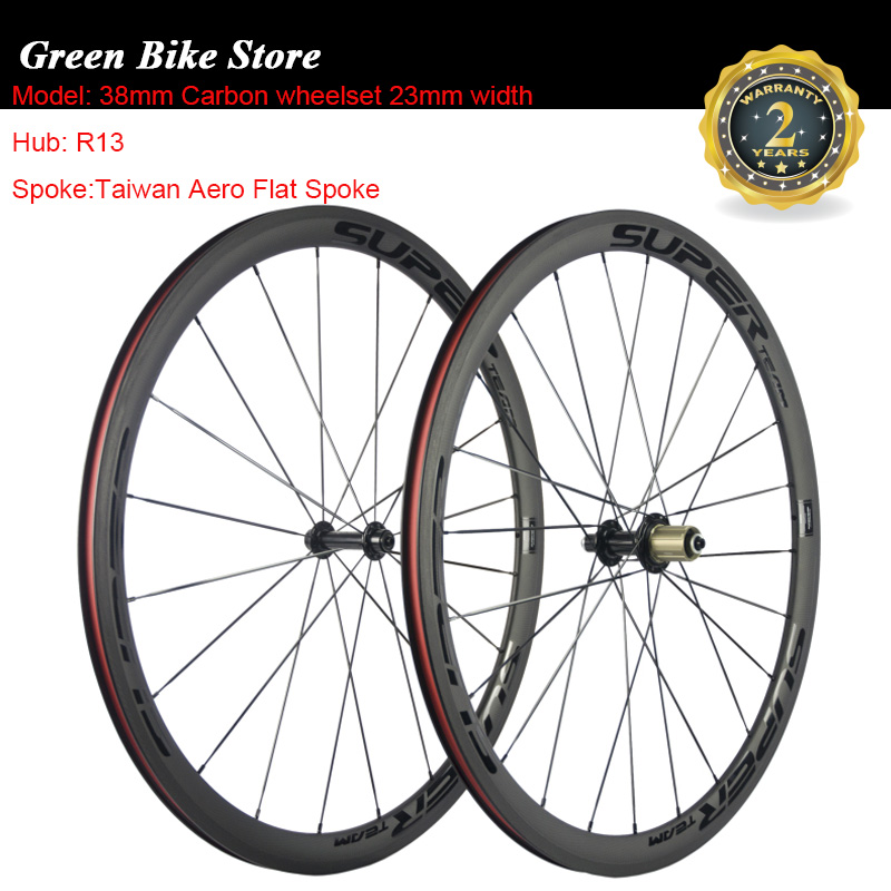 SUPERTEAM  1 Pair 38mm Clincher 23mm Width Road Wheelset Carbon Bicycle Wheels Tubular Chinese WheelsSUPERTEAM  1 Pair 38mm Clincher 23mm Width Road Wheelset Carbon Bicycle Wheels Tubular Chinese Wheels