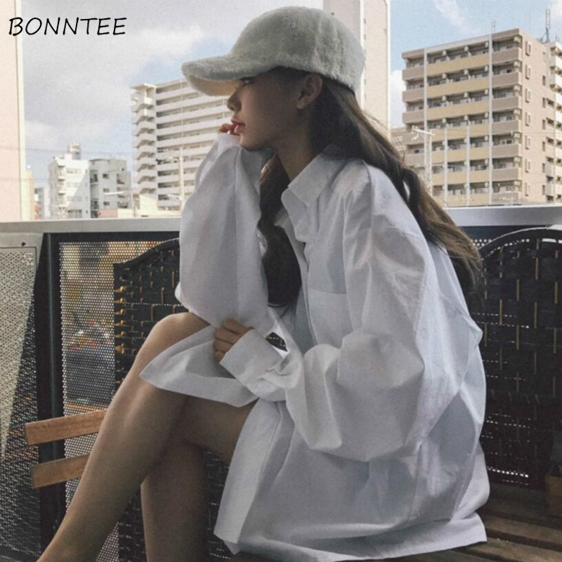Shirts Women Korean Style Retro High Quality Loose Leisure Trendy All-match Womens Clothing Solid Simple Long Sleeve Spring New