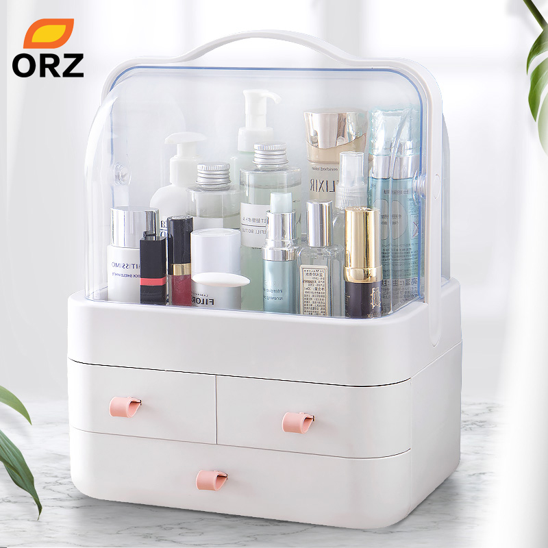 ORZ Cosmetic Makeup Organizer Storage Box Nail Polish Organizer Holder Display Make up Caddy Dressing Table Jewelry Boxes|Makeup Organizers| |  - title=