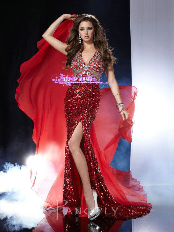 free shipping customized maxi 2014 new sexy mermaid long vestidos formales luxury crystal red and blue   prom     dresses   new style