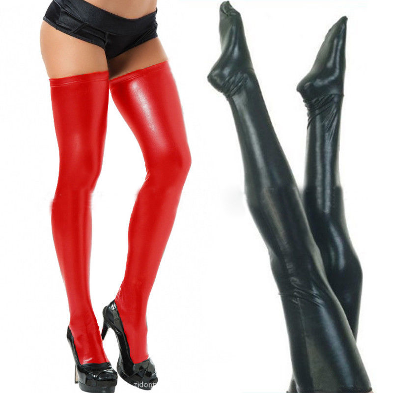 Black Red 2Colors Wet Look Sexy Women Lady Thigh High Stockings PU PVC Performing Faux Leather Stockings