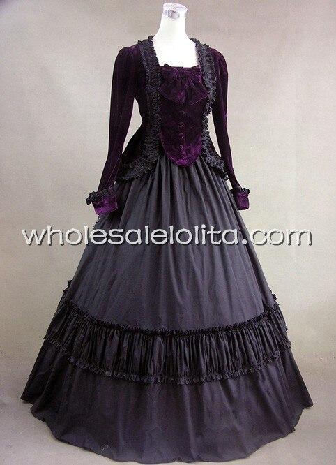Черный викторианской вельвет бальное платье вечерние платье