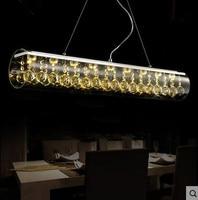 Pendant light LED 110 220V Creative Art bar Dining Room Table Rectangular Glass Crystal pendant lamps