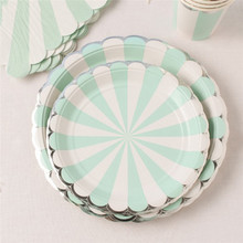 Mint Green Disposable Paper Tableware Sets 7/9 inch Plates Cups Utensils Napkins Tissue Wedding Birthday Party Decoration