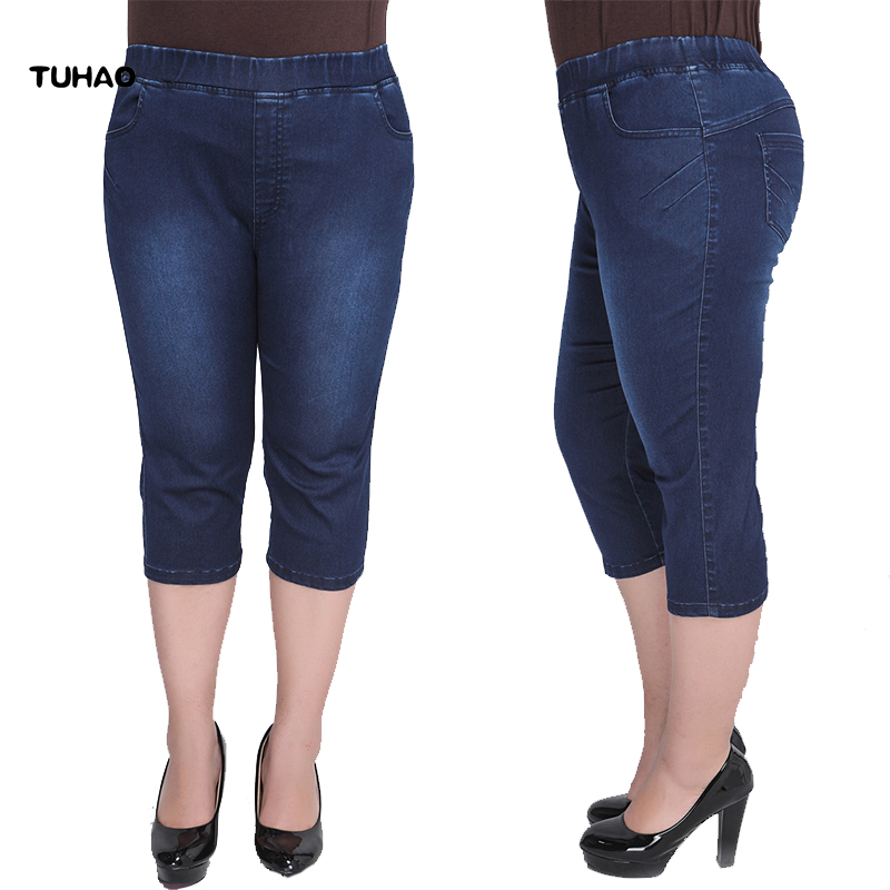TUHAO Plus Size 9XL 8XL 7XL Skinny Capris Jeans Woman Female Stretch Denim Shorts Jeans Pants Women High Waist Summer jean YH39