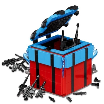 Airdrop Bag Box PUBG Game Military Army Weapons Building Blocks Sets Kids Classic Model Toys For Children Compatible Legoings 21035 lego